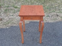 Cherry Cabriole French Country End Table with Drawer