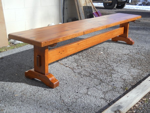 Genial Thick Pine Henricus Trestle Bench