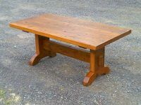 Thick Antique Pine Arched Shaker Trestle Coffee Table