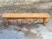 Thick Antique Pine Straight Shaker Trestle Bench
