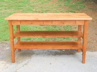Thick Antique Pine Virginia Farm Island with Drawers & Removable Shelves