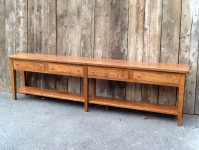Thick Wormy Chestnut Virginia Farm Server with Deep Apron, Drawers & Shelf