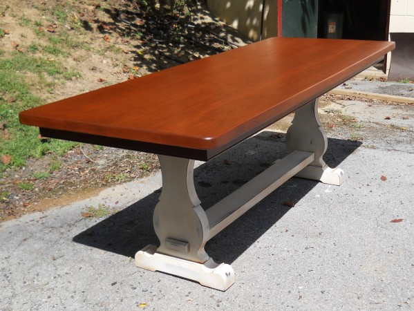 Thick Maple French Trestle With Faux Apron