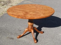 Thick Tiger Maple Round Reeded Pedestal
