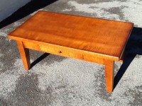 Thick Tiger Maple Virginia Farm Coffee Table with Drawer