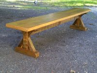 Thick Wormy Chestnut Crossbuck Trestle Bench
