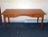 Tiger Maple Notre Dame French Country Desk with Arched Apron & Drawers