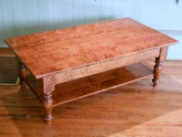 Tiger Maple Williamsburg Coffee Table with Shelf