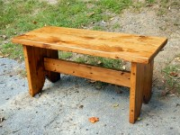 Thick Antique Pine Timber Ridge Bench