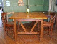 Thick Antique Pine Timberframe Island with Barstools