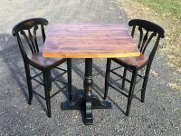 Thick Antique Pine Innkeeper Pub Table with Yorktown Barstools