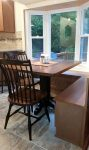 Thick Maple Cottage Pedestal with Thumback Chairs