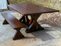 Thick Maple Crossbuck Trestle Table & Bench