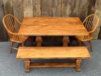 Thick Mild Tiger Maple Tuscany Trestle with Bench & Windsors