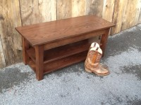 Oak Mission Bench with Shelves