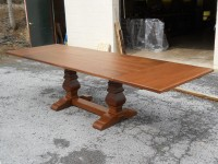 Thick Walnut Tuscany Trestle with Leaves