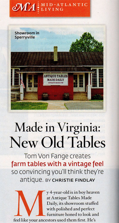 Antique Tables Made Daily in Southern Living, September 2010.